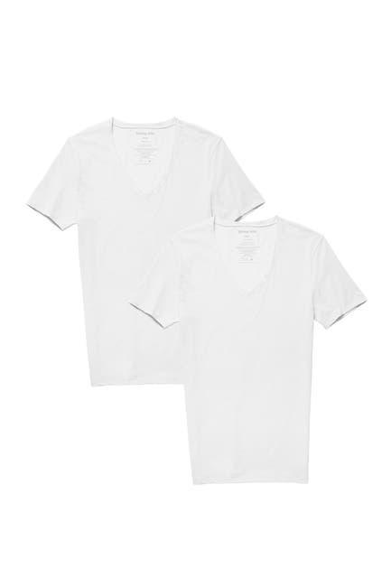 Image of Tommy John Basics Stay-Tucked Deep V-Neck Undershirt - Pack of 2