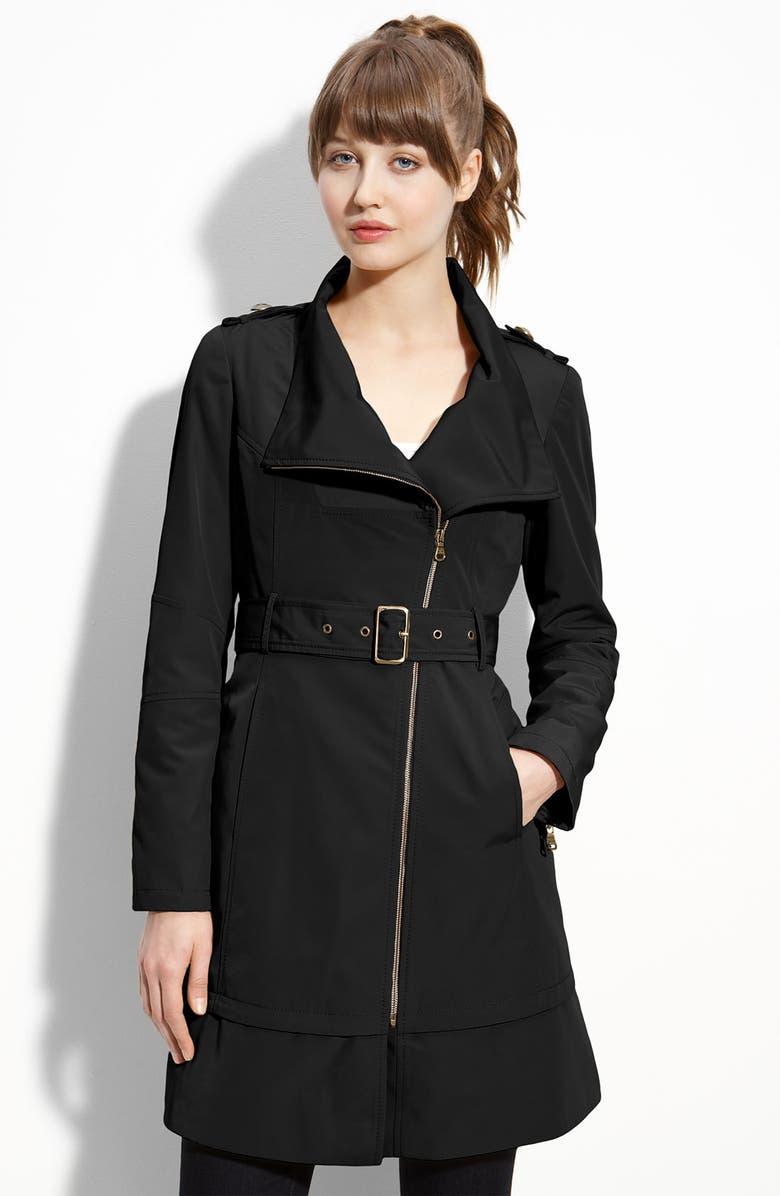 GUESS Asymmetrical Zip Raincoat, Main, color, 001