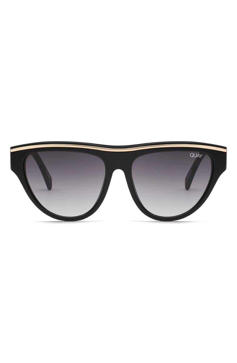QUAY AUSTRALIA Flight Risk 58mm Sunglasses, Main, color, BLACK / SMOKE