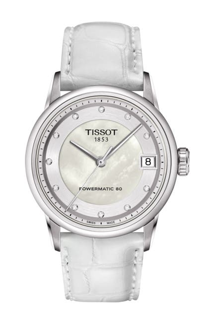 Image of Tissot Women's Luxury Diamond Dial Powermatic 80 Croc Embossed Leather Strap Watch, 33mm - 0.0148 ctw