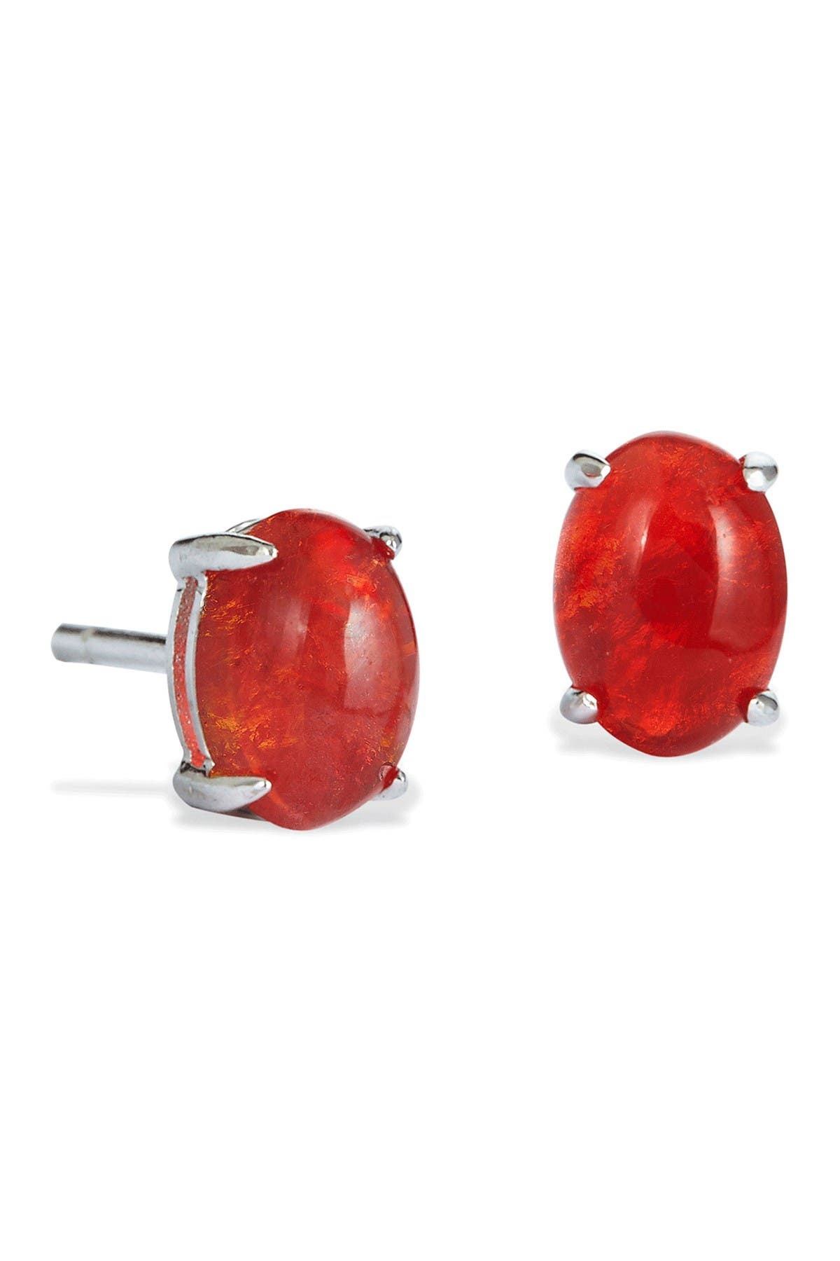 Image of Savvy Cie Sterling Silver Mexican Fire Opal Stud Earrings