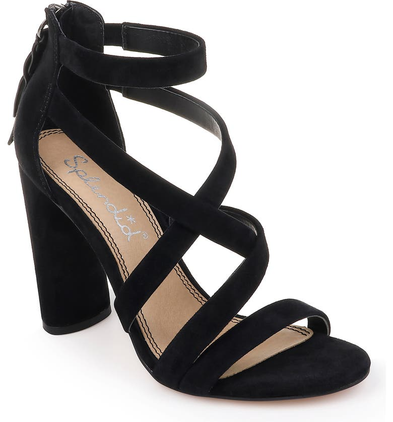 SPLENDID Stuart Block Heel Sandal, Main, color, BLACK SUEDE