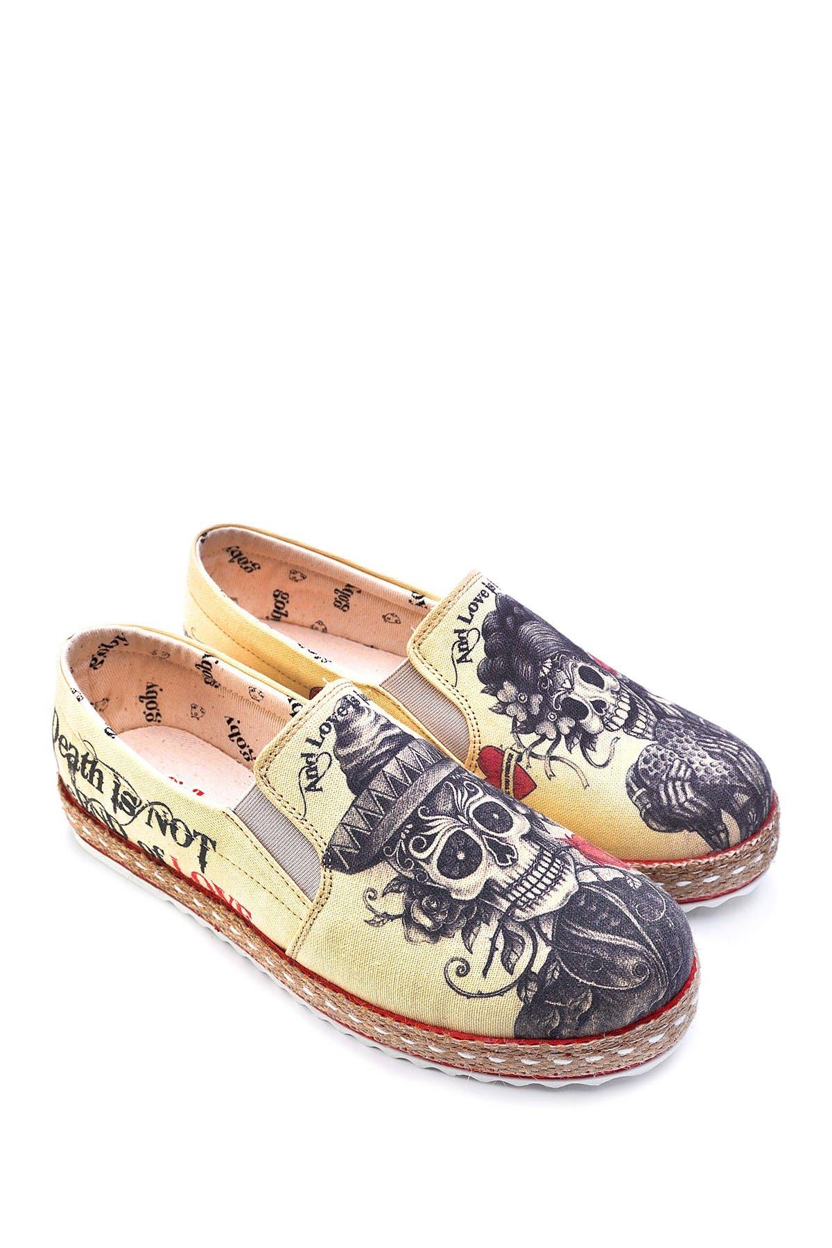 Image of Goby Sugar Skull Printed Platform Slip-On Sneaker