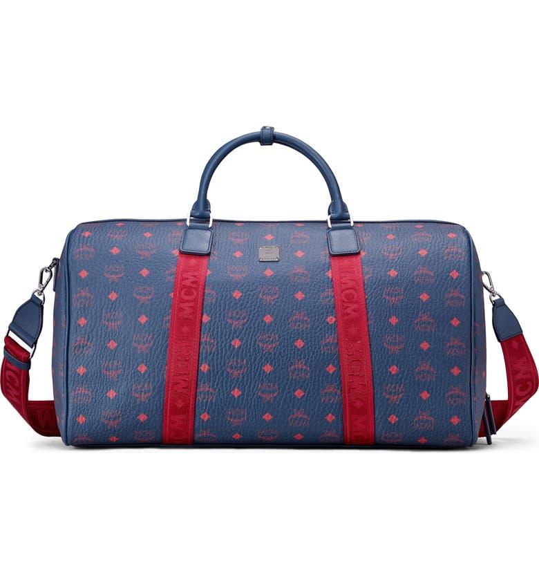 MCM Visetos Traveler Duffle Bag, Main, color, DEEP BLU SEA