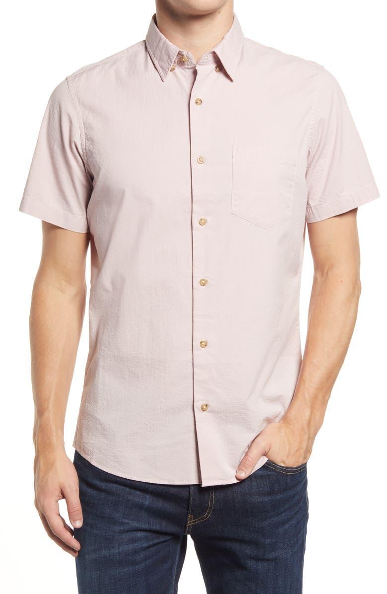 NORDSTROM Trim Fit Seersucker Short Sleeve Stretch Button-Up Shirt, Main, color, PINK ANTIQUE