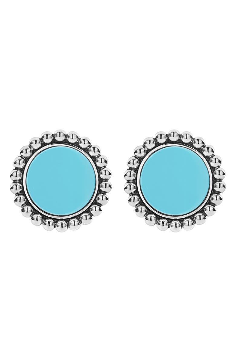 LAGOS Maya Ceramic Button Earrings, Main, color, SILVER/ BLUE