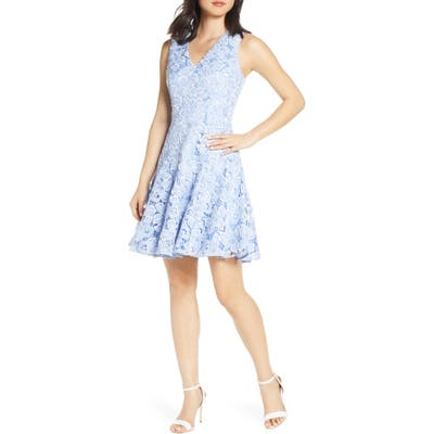 Petite Eliza J Sleeveless Lace Fit & Flare Dress, Blue