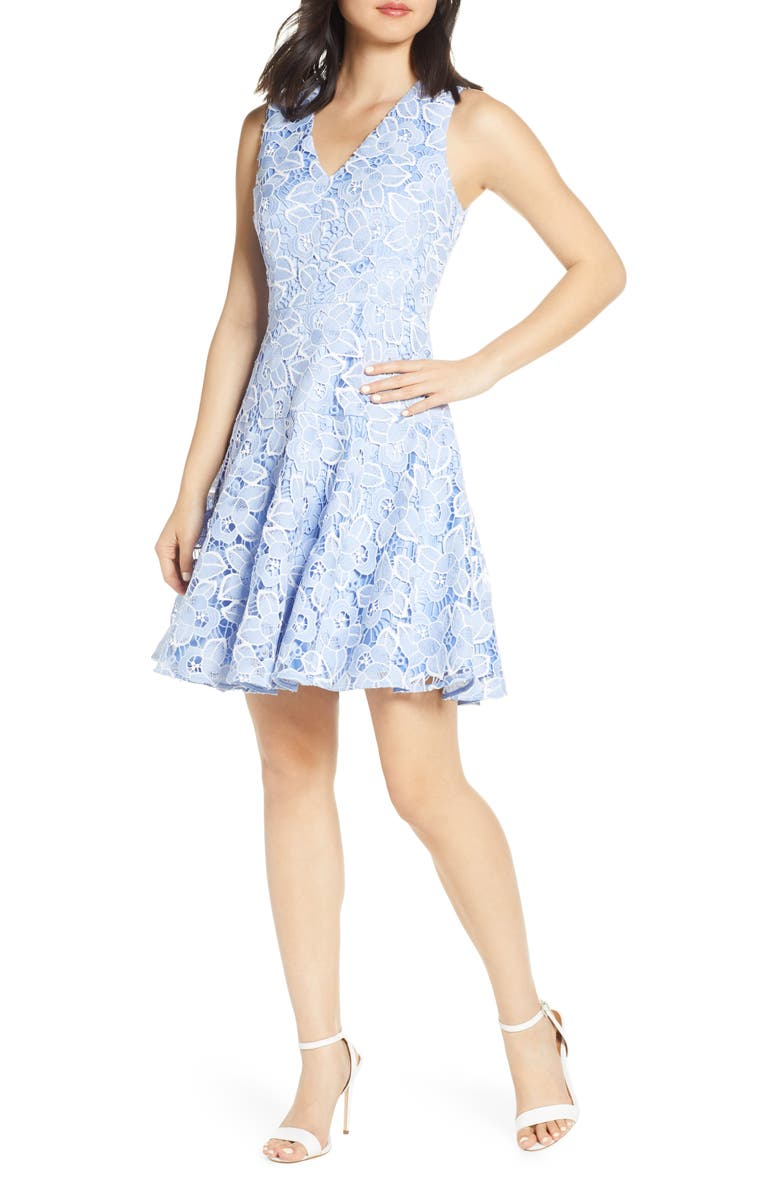 ELIZA J Sleeveless Lace Fit & Flare Dress, Main, color, 421