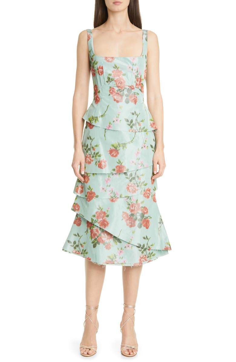 BROCK COLLECTION Floral Print Sleeveless Midi Dress, Main, color, DARK GREEN