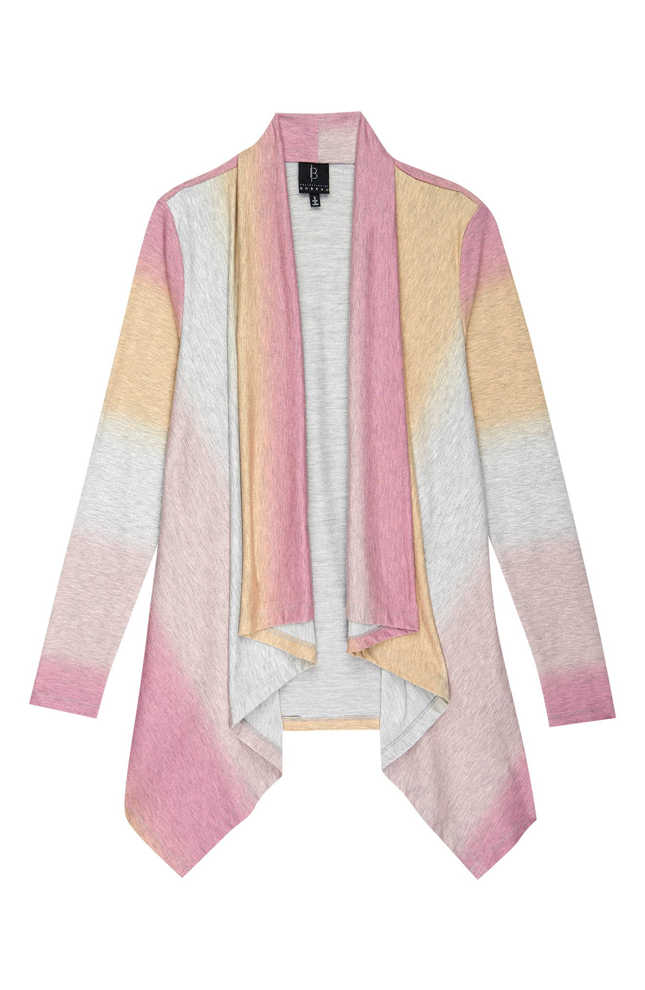 Shifting from creamy orange to blushing pink, this drape-front cardigan in comfy French-terry is a joy to toss on for a cloudy day out. Style Name: Bobeau Amie Ombre Open Front Cardigan. Style Number: 6092573. Available in stores.