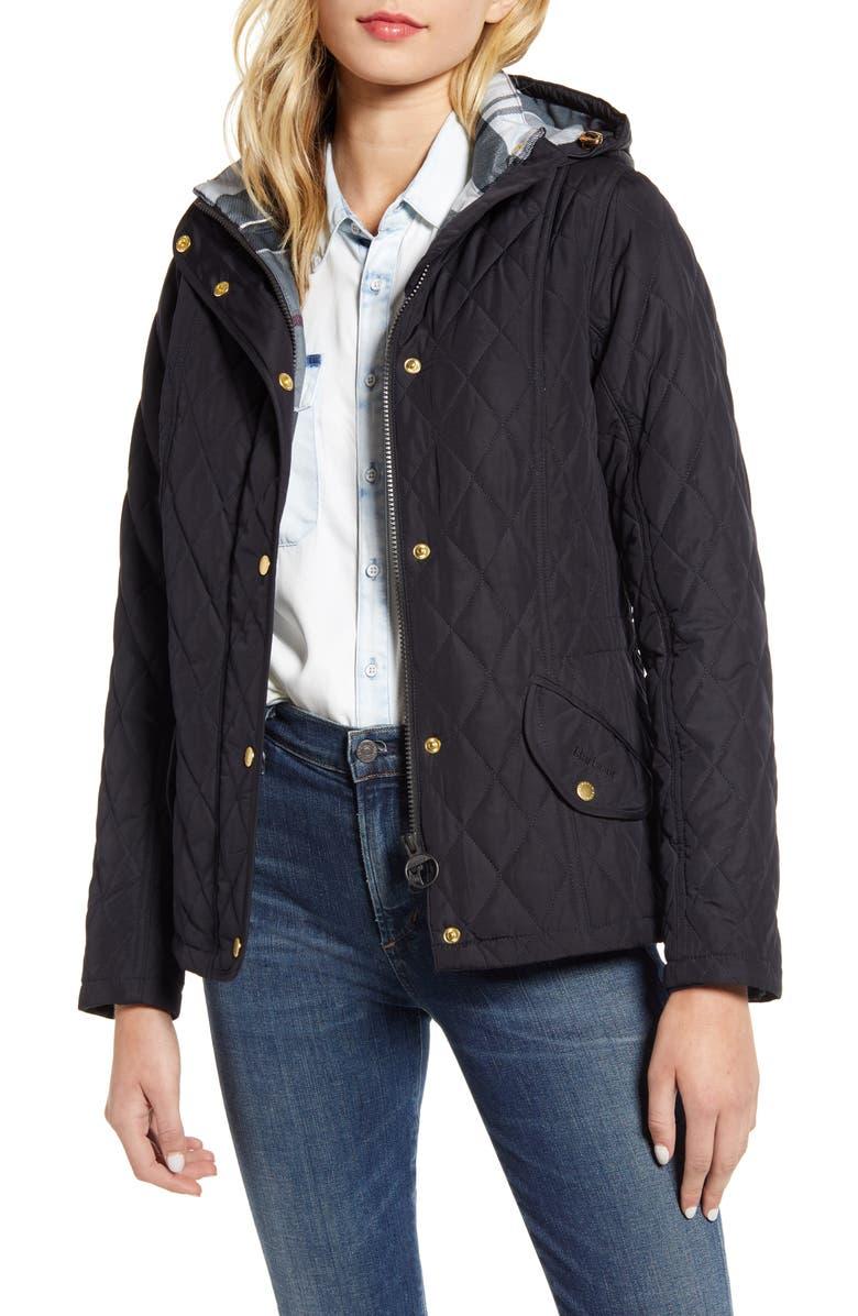 BARBOUR Millfire Diamond Hooded Quilted Jacket, Main, color, NAVY/ JUNIPER TARTAN