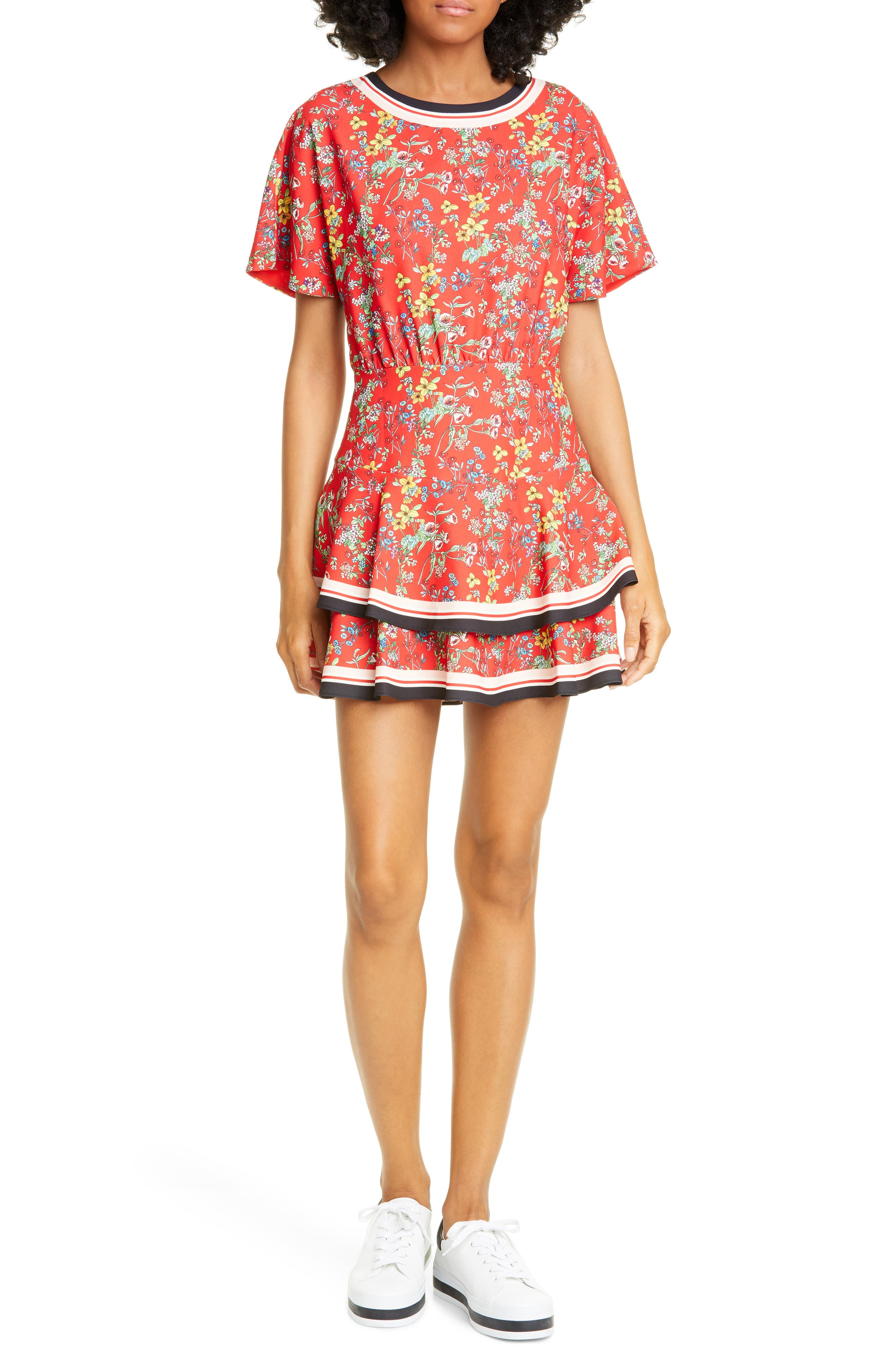 Alice + Olivia Palmira Floral Tie Back Tiered Ruffle Dress, Coral