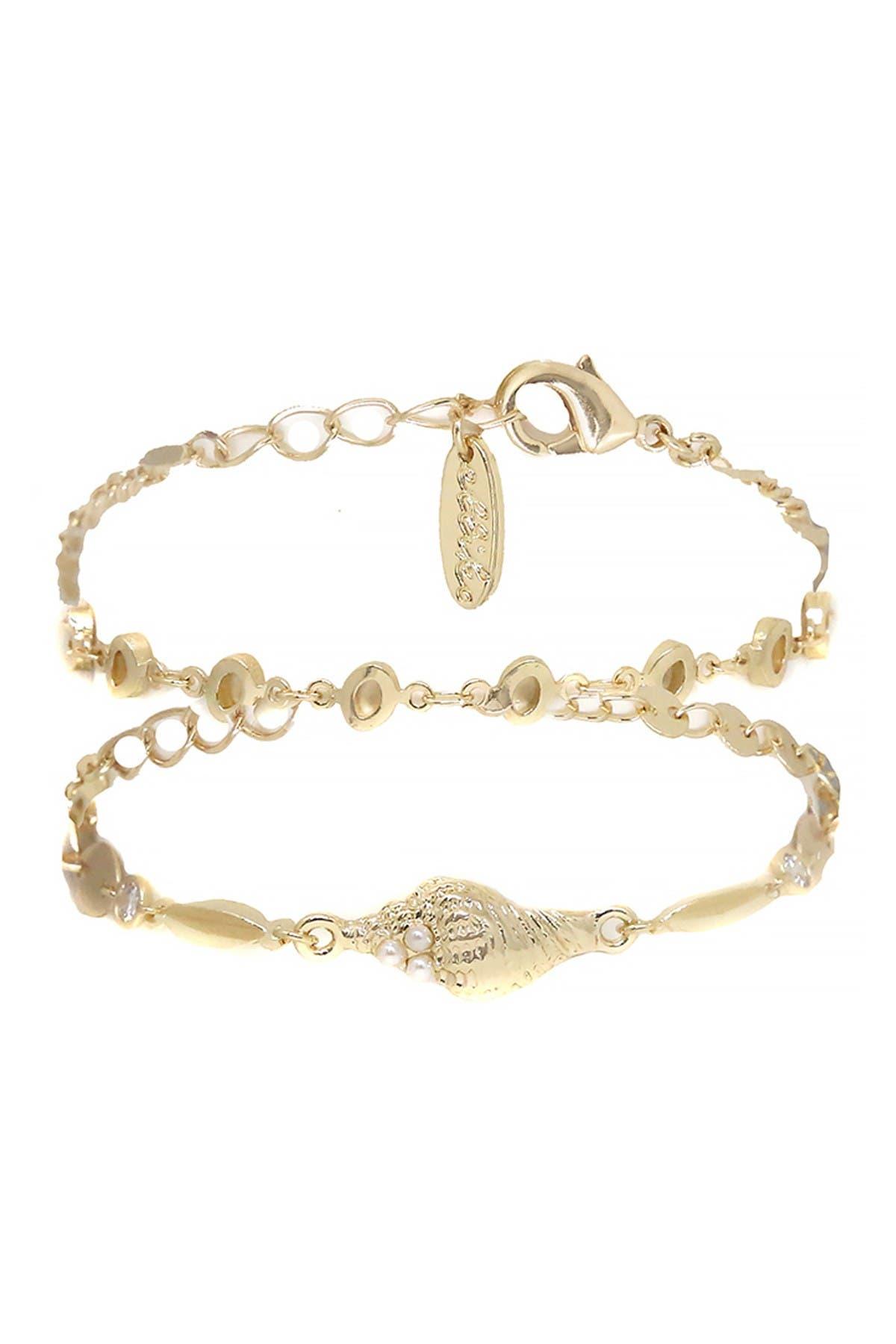Image of Ettika Gold Beach Shell Pearl Bracelets - Set of 2