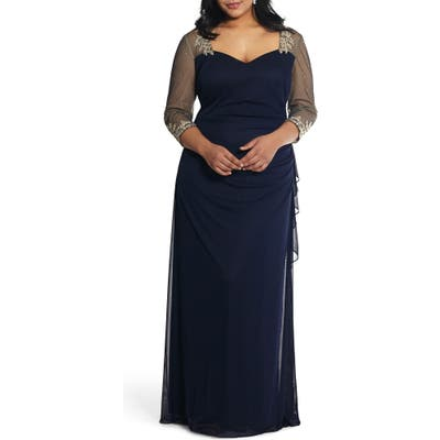 Plus Size Xscape Embellished Illusion Sleeve Ruched Gown, Blue