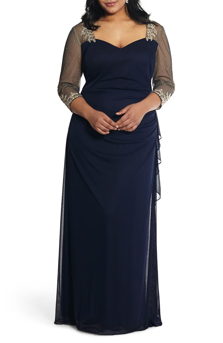 XSCAPE Embellished Illusion Sleeve Ruched Gown, Main, color, NAVY/ GOLD