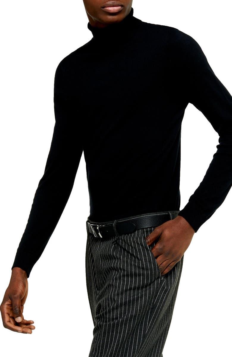 TOPMAN Cotton Turtleneck Sweater, Main, color, BLACK