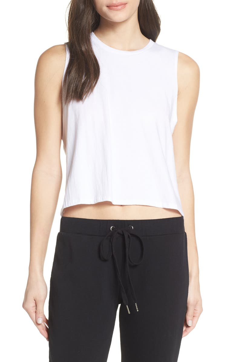 RICHER POORER Lounge Crop Tank, Main, color, WHITE