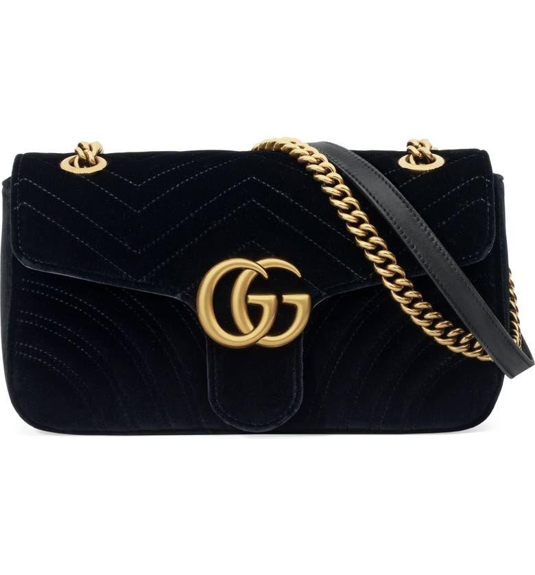 82cf399148 Medium GG Marmont 2.0 Matelassé Velvet Shoulder Bag