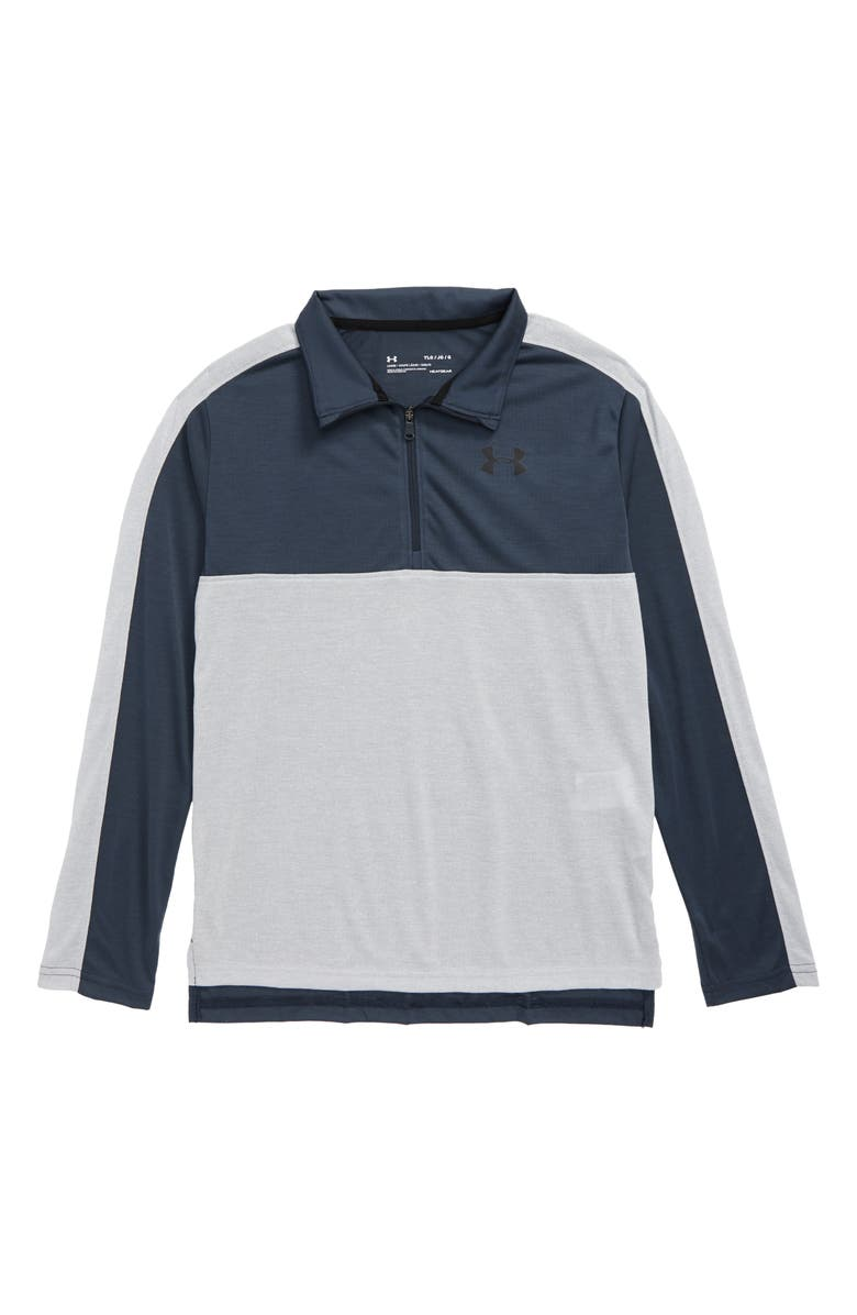 UNDER ARMOUR HeatGear<sup>®</sup> Huddle Half Zip Performance Pullover, Main, color, MOD GRAY LIGHT HEATHER/ WIRE