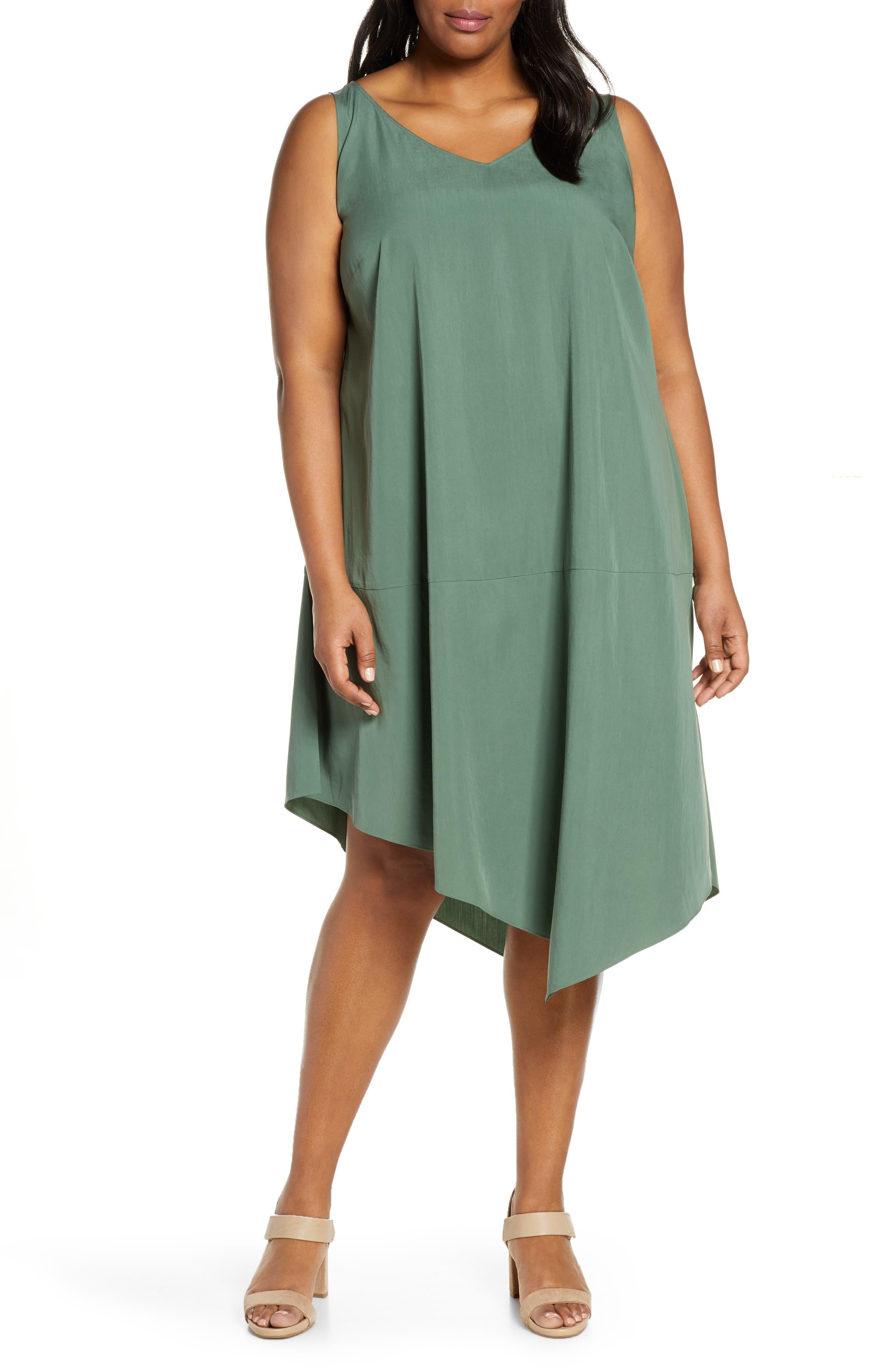 Plus Size Eileen Fisher Asymmetrical Shift Dress, Green