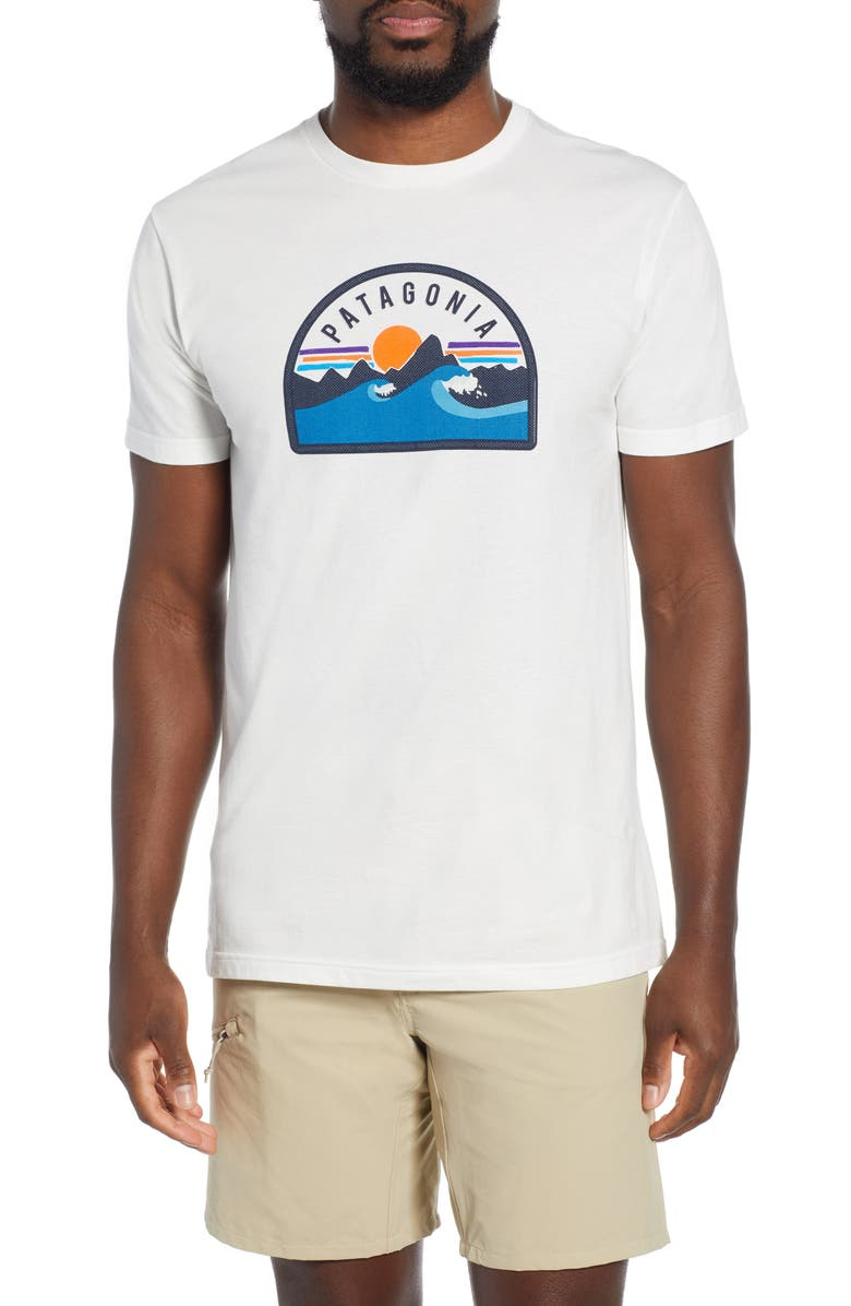 PATAGONIA Boardie Badge Organic Cotton T-Shirt, Main, color, WHITE