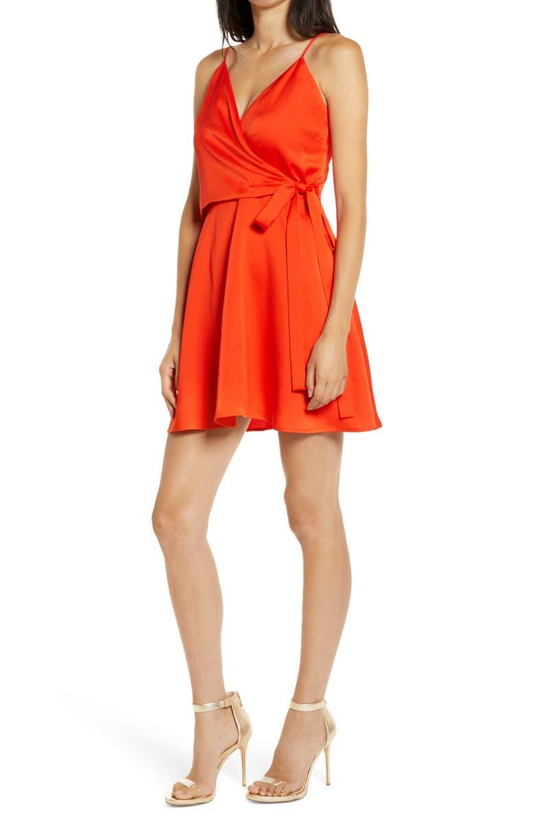 WAYF Amery Minidress, Main, color, HOT RED