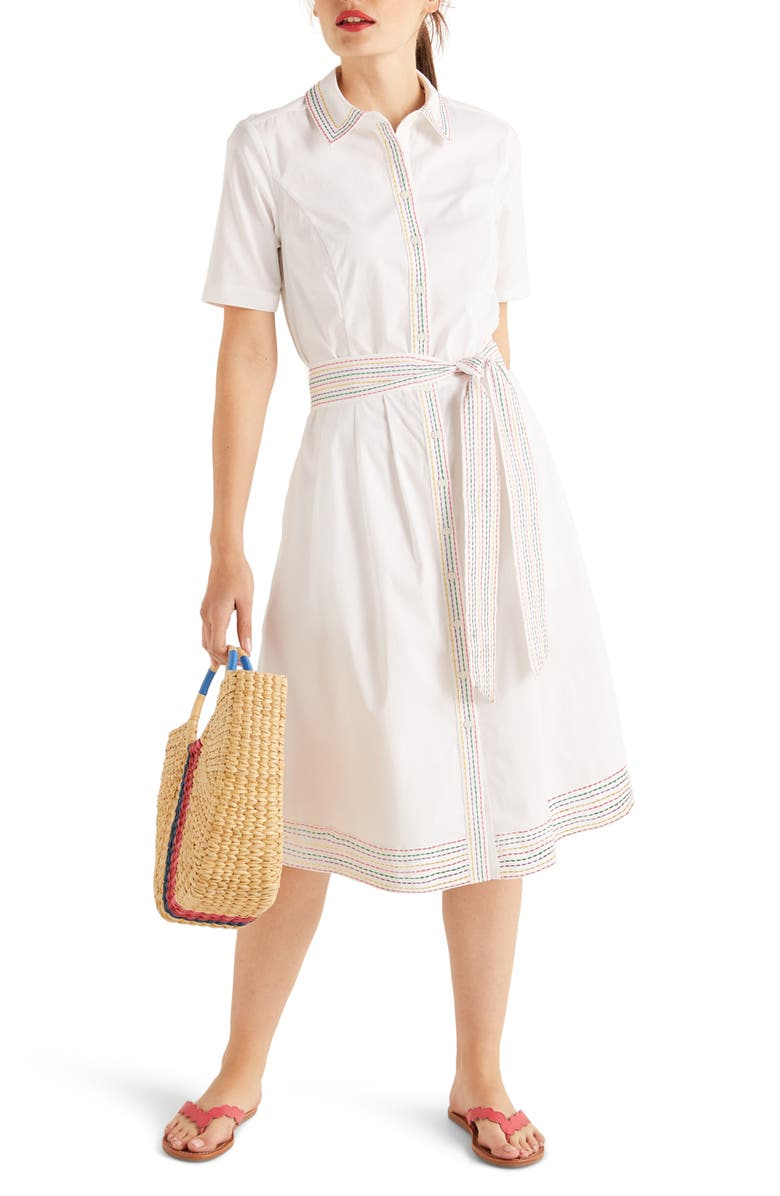 BODEN Anastasia Fit & Flare Shirtdress, Main, color, 100