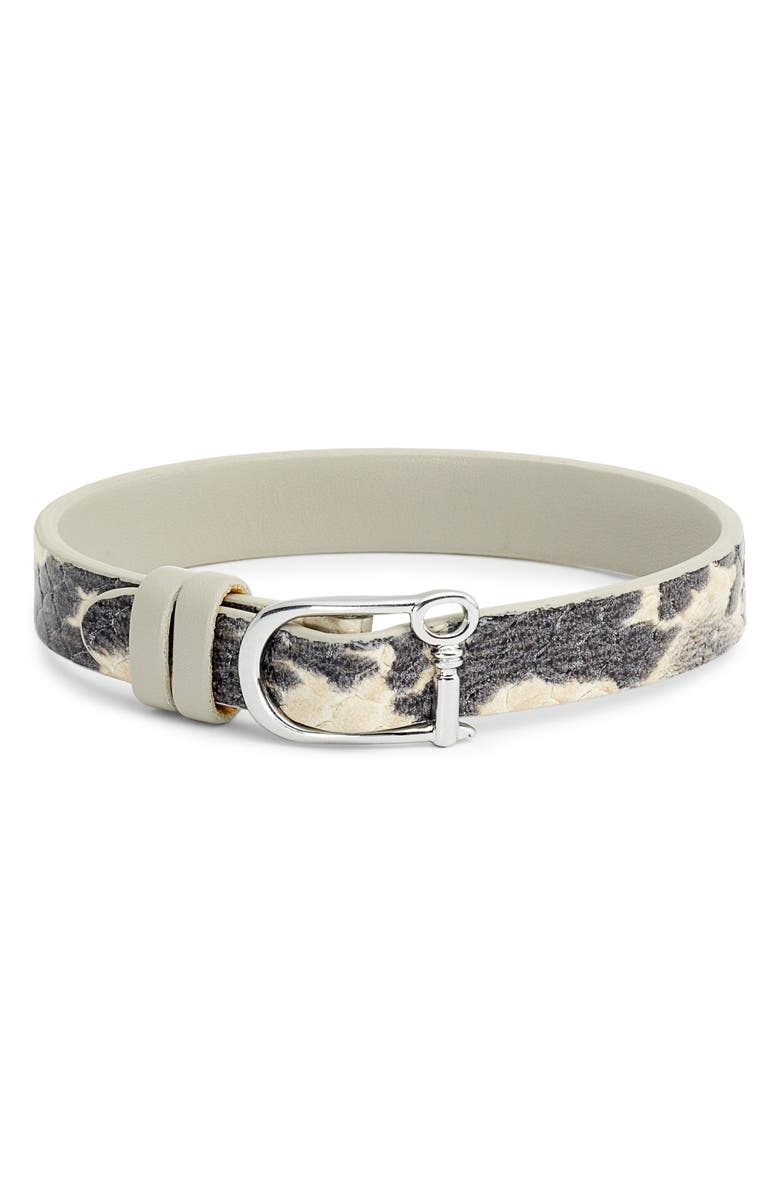 KEEP COLLECTIVE Snake Embossed Reversible Leather Band Charm Bracelet, Main, color, BLACK/ WHITE