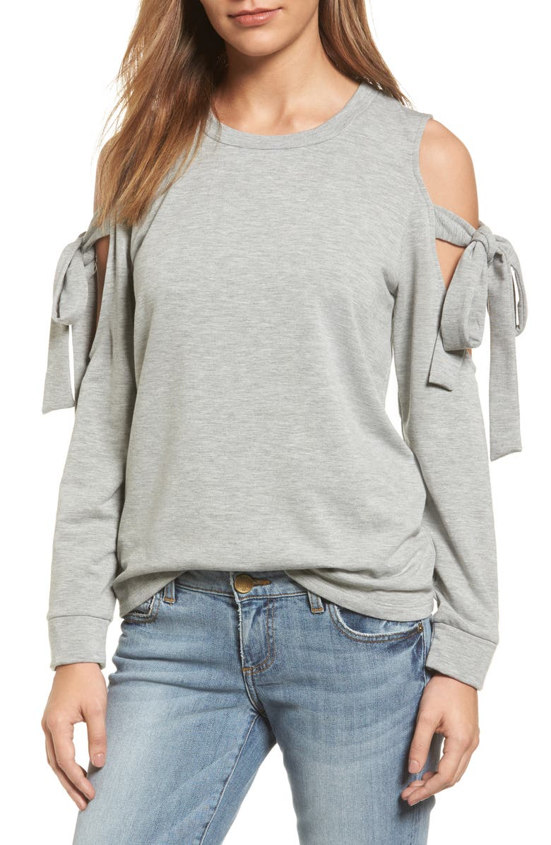 PLEIONE Cold Shoulder Tie Sleeve Sweatshirt, Main, color, 022