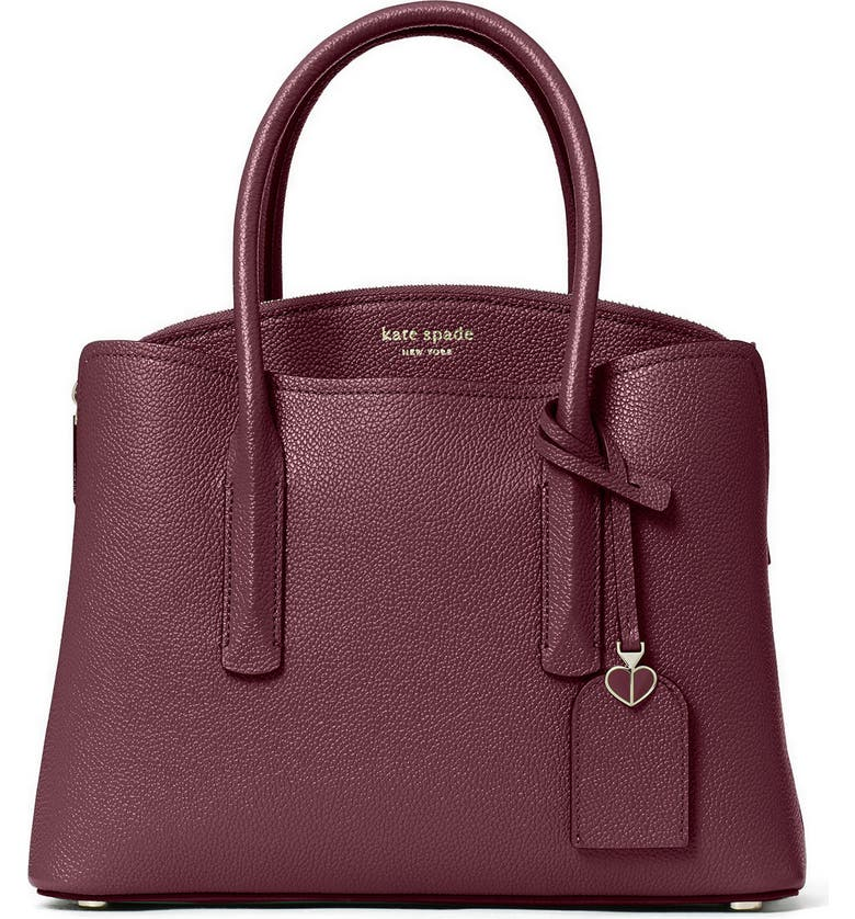 KATE SPADE NEW YORK medium margaux leather satchel, Main, color, DEEP CHERRY