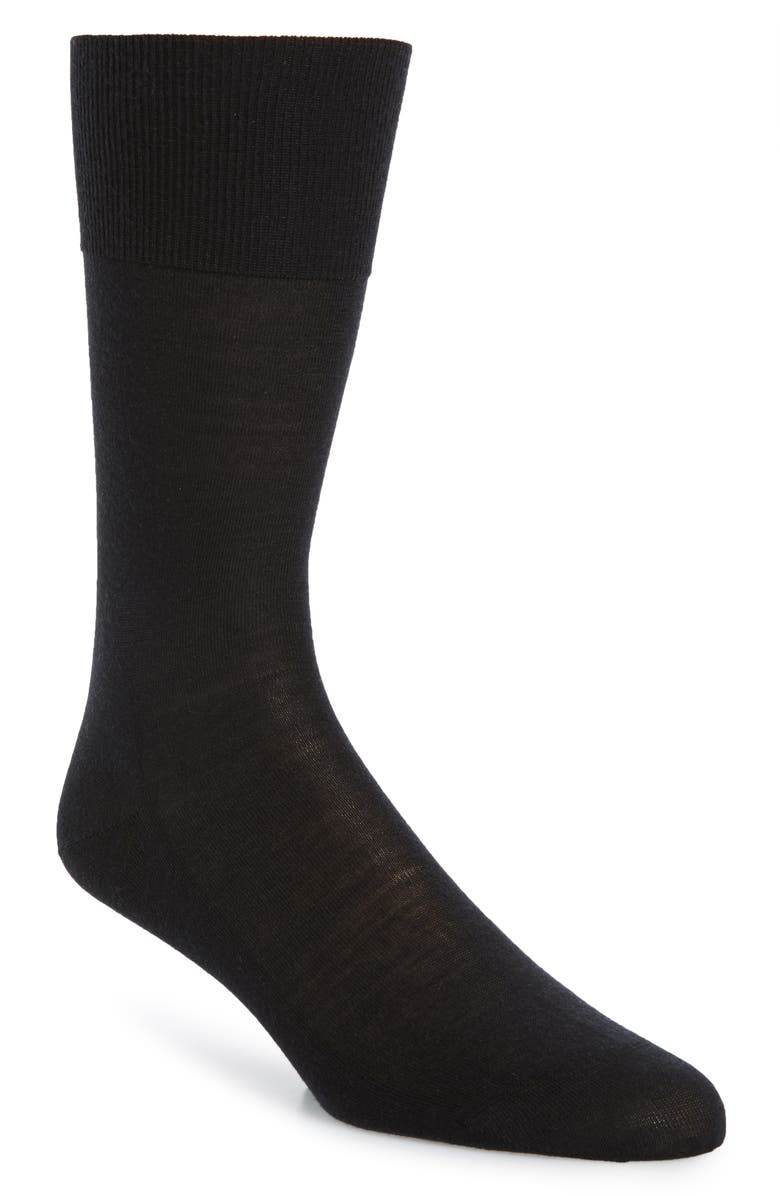 FALKE No. 6 Merino Wool Blend Dress Socks, Main, color, BLACK