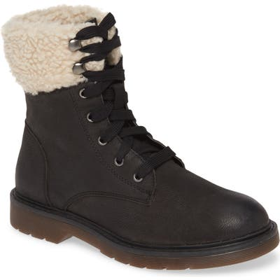 Band Of Gypsies Dillon Fleece Cuff Lace Up Boot, Black