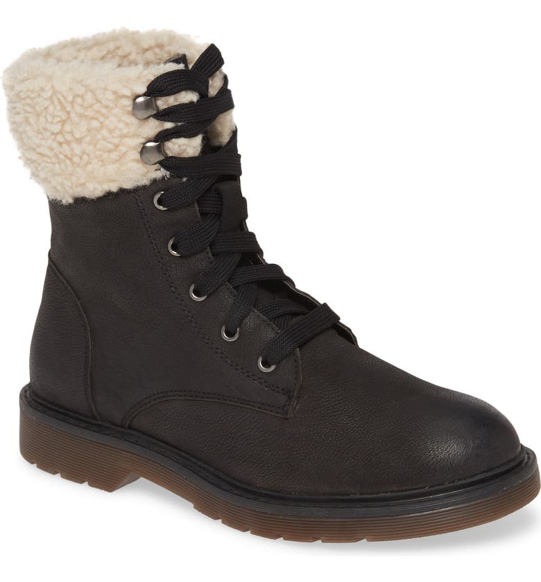 BAND OF GYPSIES Dillon Fleece Cuff Lace Up Boot, Main, color, BLACK NUBUCK LEATHER