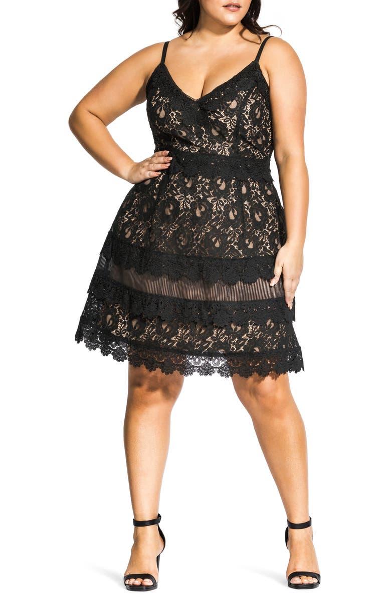 CITY CHIC Nouveau Cotton Blend Lace Fit & Flare Dress, Main, color, BLACK / NUDE