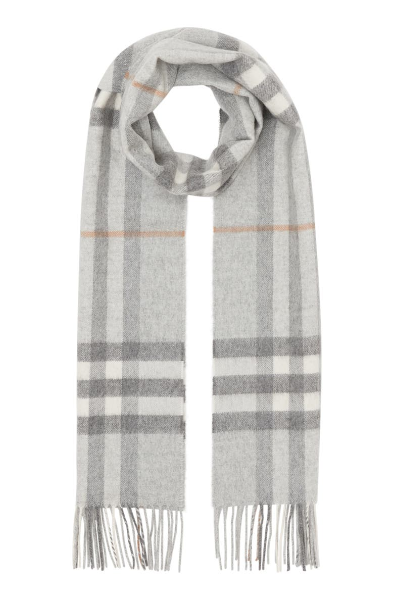 BURBERRY Giant Icon Check Cashmere Scarf, Main, color, LIGHT GREY