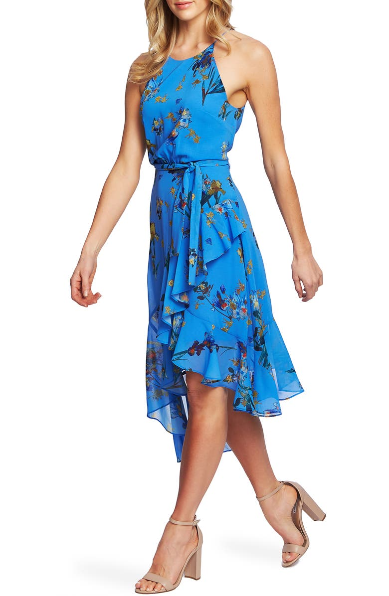 CECE Floral Print Asymmetrical Dress, Main, color, 401