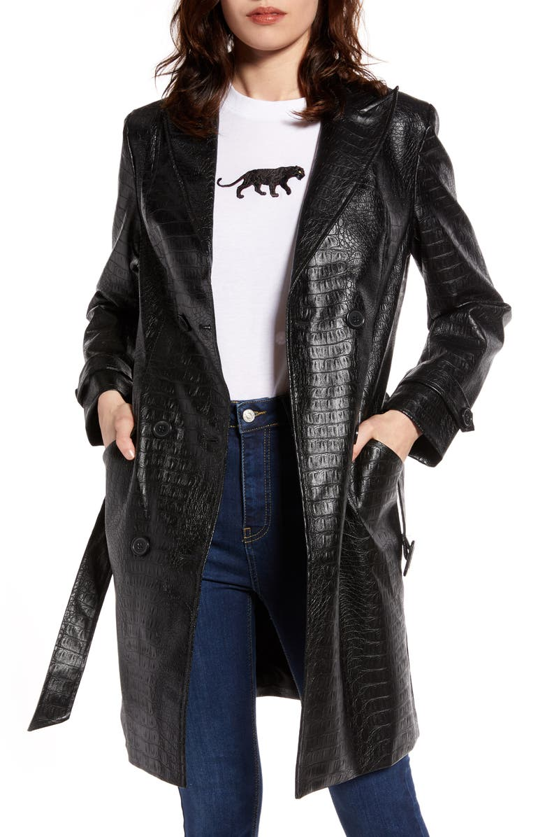 NA-KD Reptile Embossed Faux Leather Jacket, Main, color, BLACK