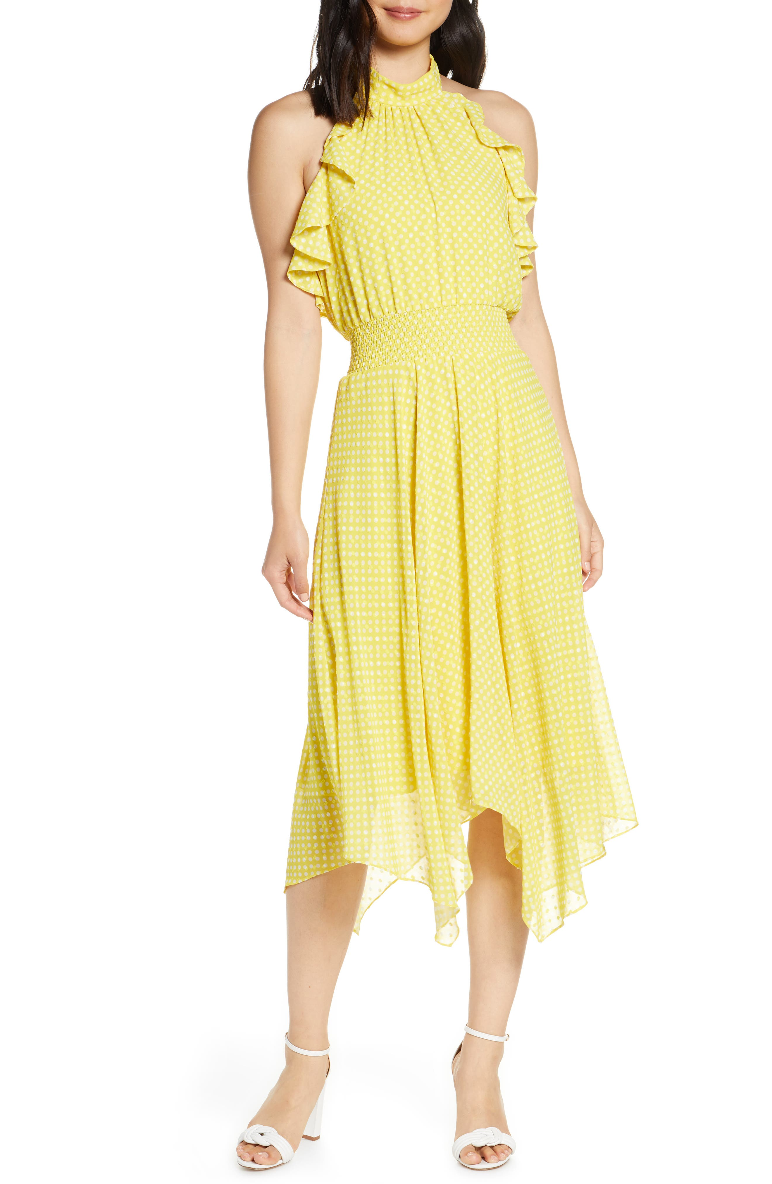 Eliza J Halter Neck Handkerchief Hem Dress, Yellow