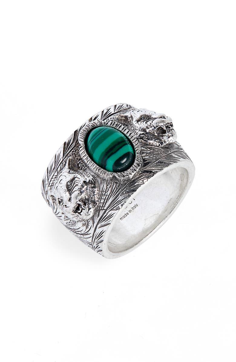 GUCCI Garden Sterling Silver Ring, Main, color, STERLING SILVER / MALACHITE