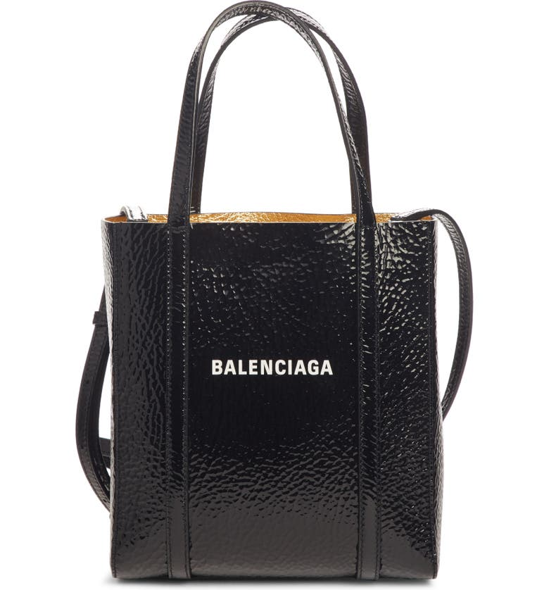 BALENCIAGA Extra Extra Small Bazar Patent Leather Shopper, Main, color, BLACK/ GOLD