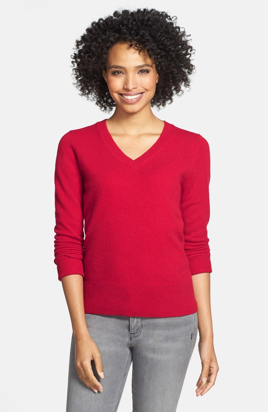 ,                             Cashmere V-Neck Sweater,                             Main thumbnail 68, color,                             610
