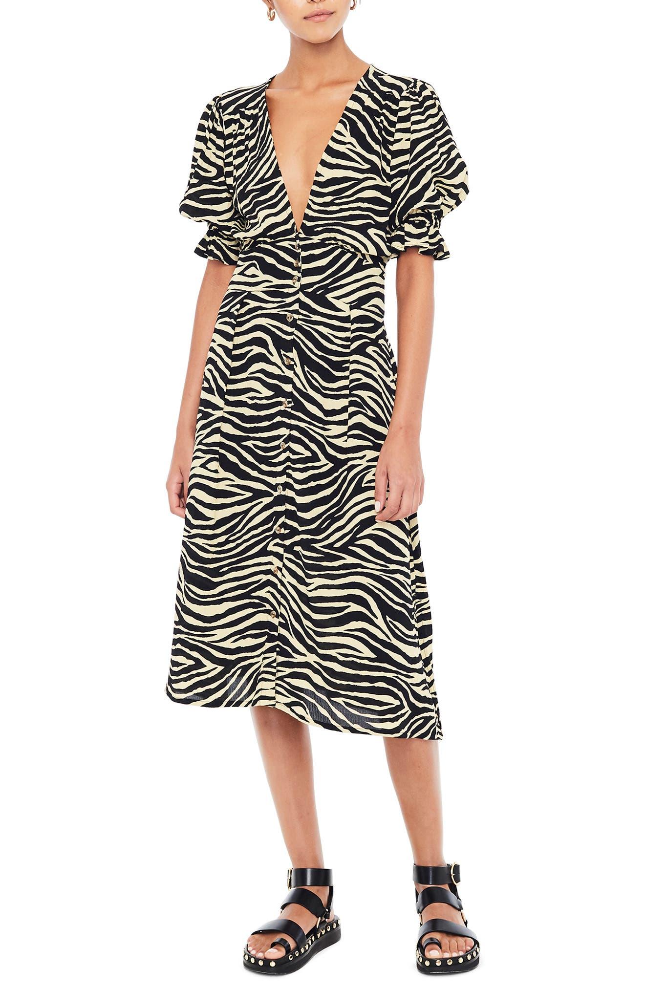 Faithfull The Brand Rafa Zebra Print Midi Dress, Black