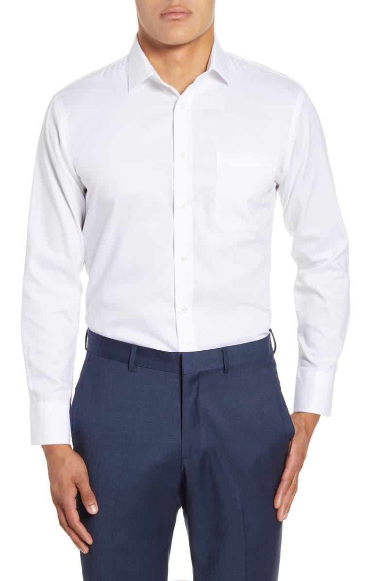 NORDSTROM MEN'S SHOP Trim Fit Non-Iron Dress Shirt, Main, color, WHITE BRILLIANT