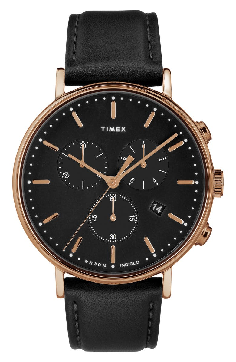 TIMEX<SUP>®</SUP> Fairfiled Leather Strap Watch, 41mm, Main, color, BLACK/ ROSE GOLD