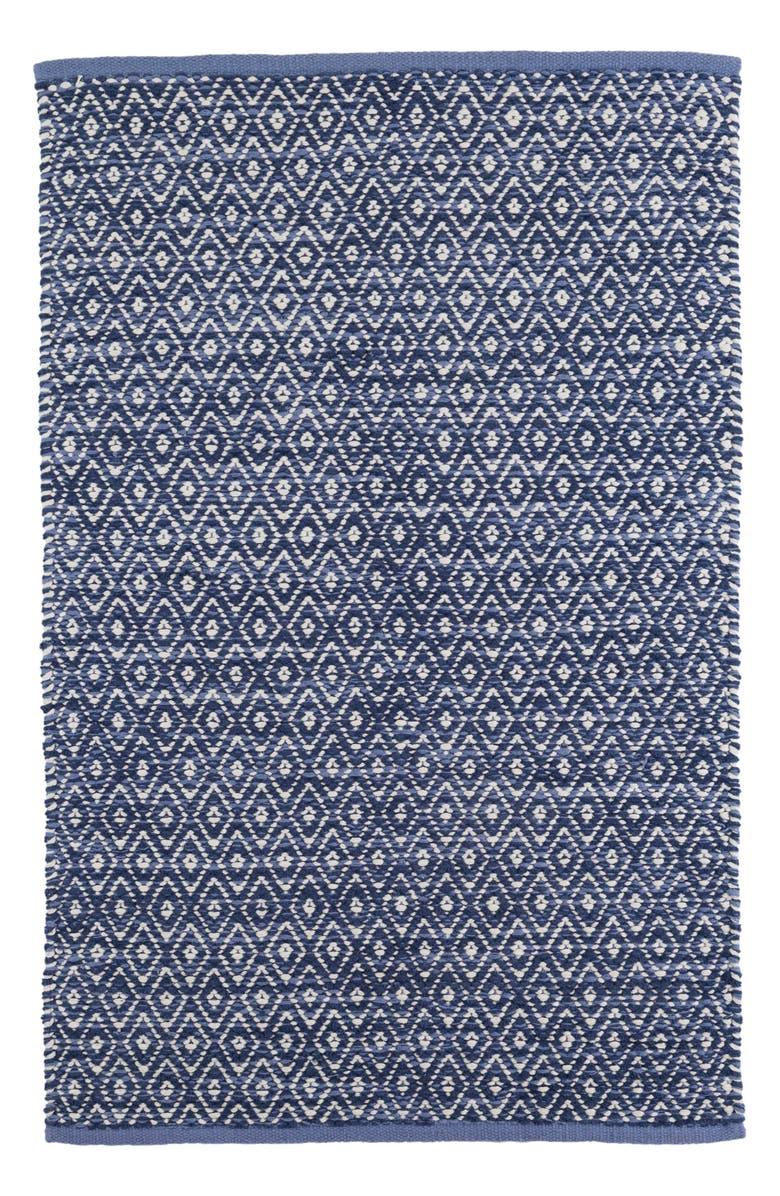 DASH & ALBERT Diamond Chenille Woven Rug, Main, color, BLUE