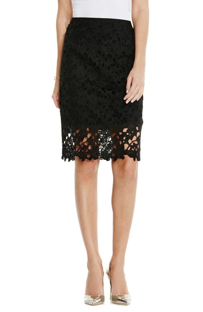 VINCE CAMUTO Floral Lace Pencil Skirt, Main, color, 001