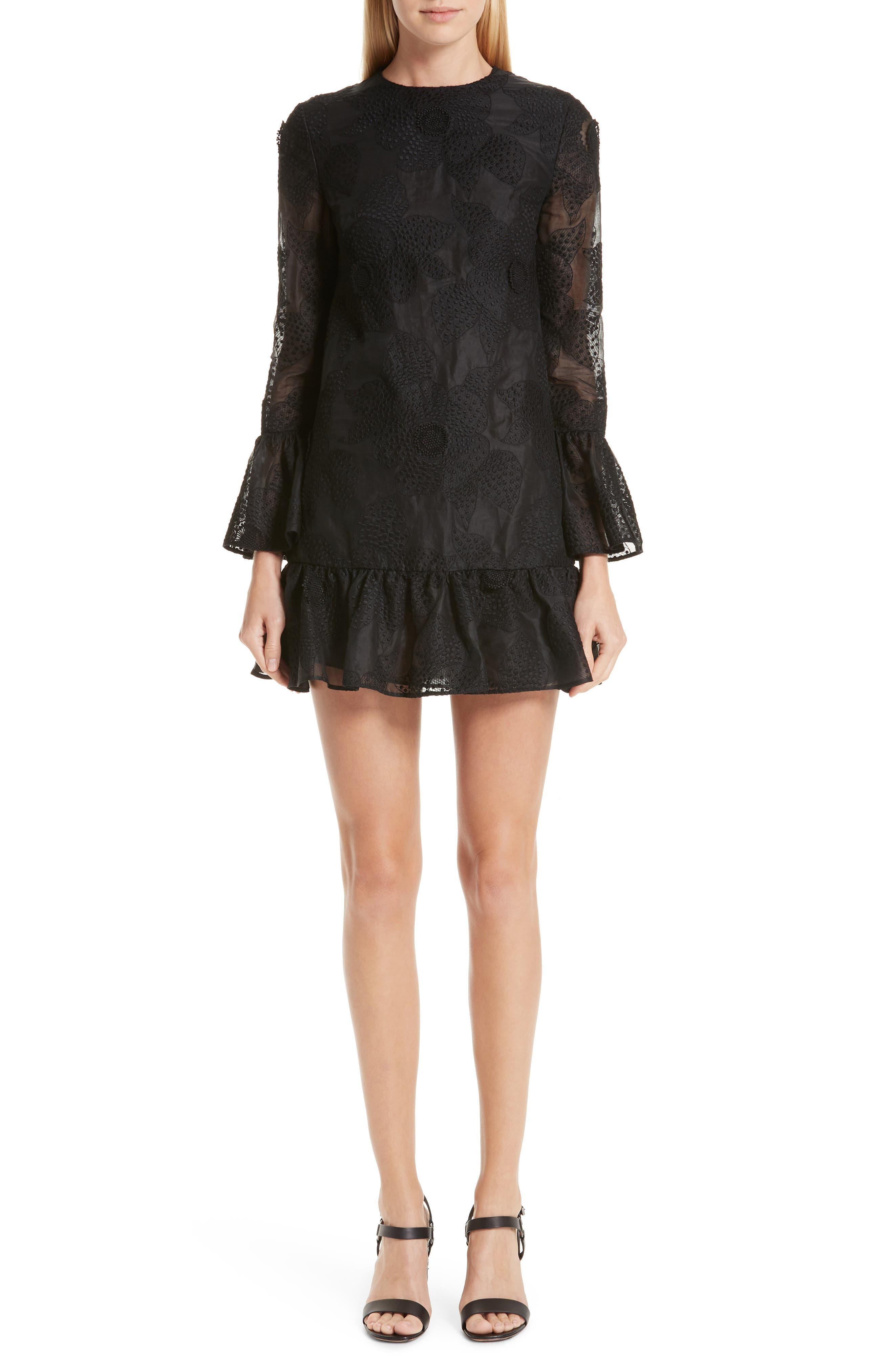 Valentino Ruffle Camellia Organza Shift Dress, Black