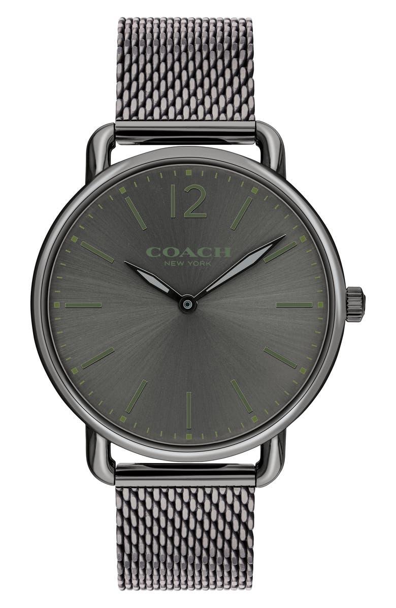 COACH Delancey Mesh Strap Watch, 40mm, Main, color, 020