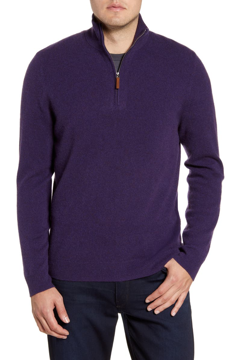 NORDSTROM MEN'S SHOP Regular Fit Cashmere Quarter Zip Pullover, Main, color, PURPLE CROWN