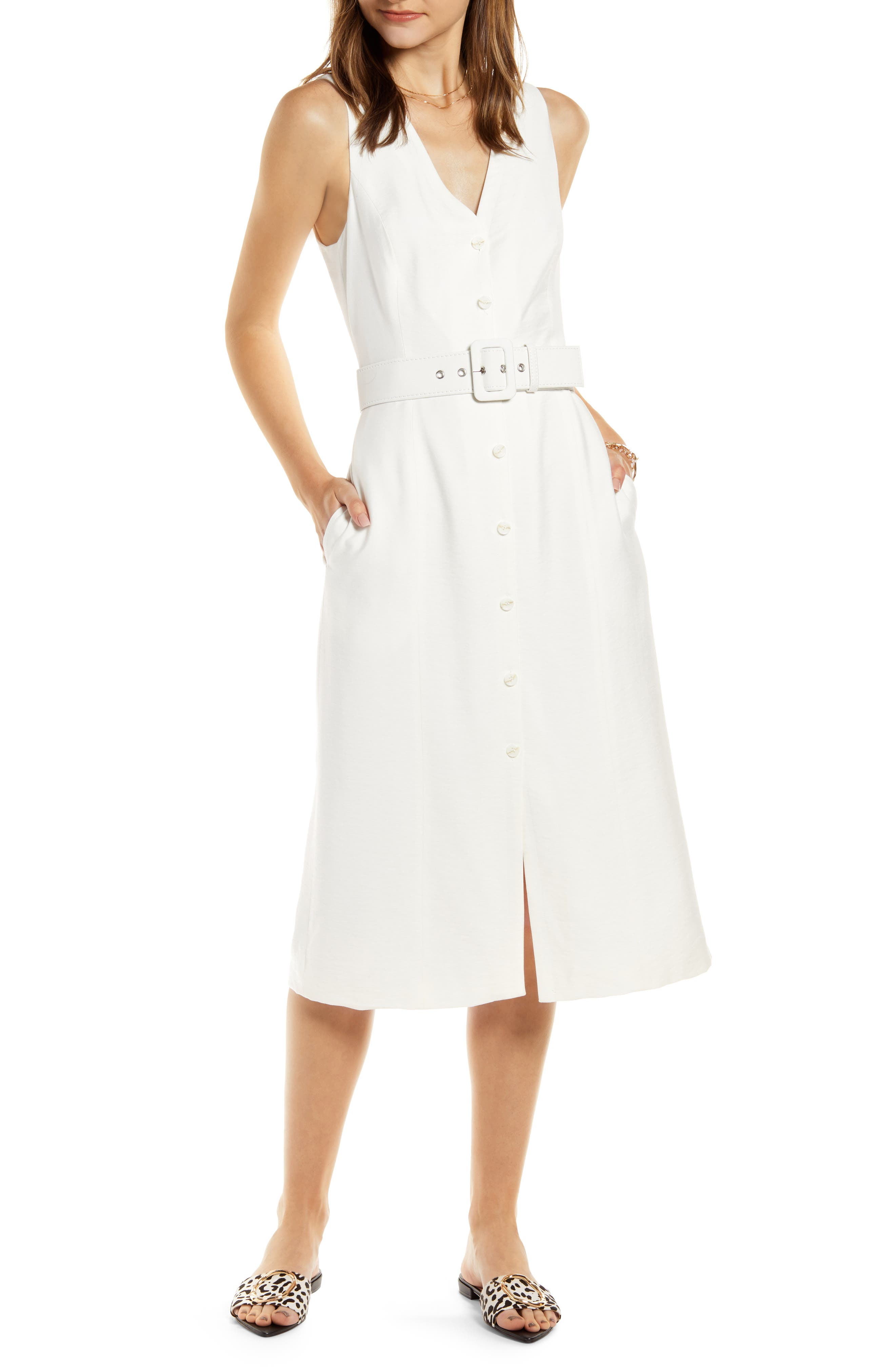Something Navy Sleeveless Button-Up Midi Dress, Ivory (Nordstrom Exclusive)